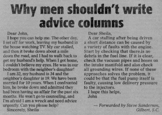 Why men should not be asked for an advice
