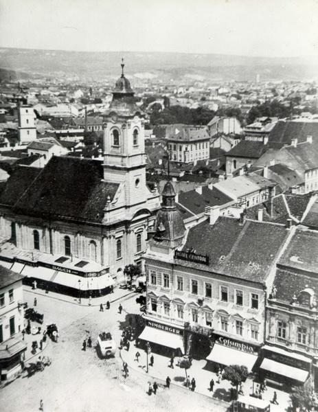 589-1937-intersectia str. Gh.Doja cu bulevardul Lenin si piata Libertatii, vazuta din turnul biserici Sf. Mihail