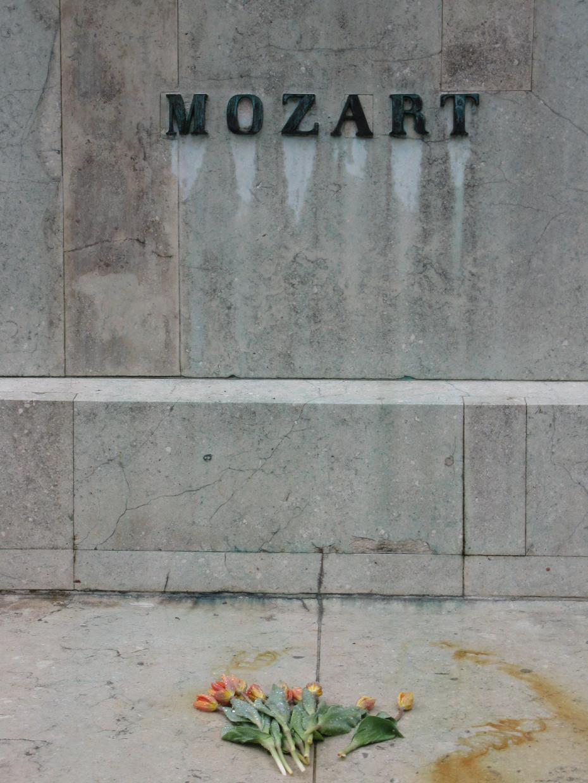 flori la statuia lui Mozart