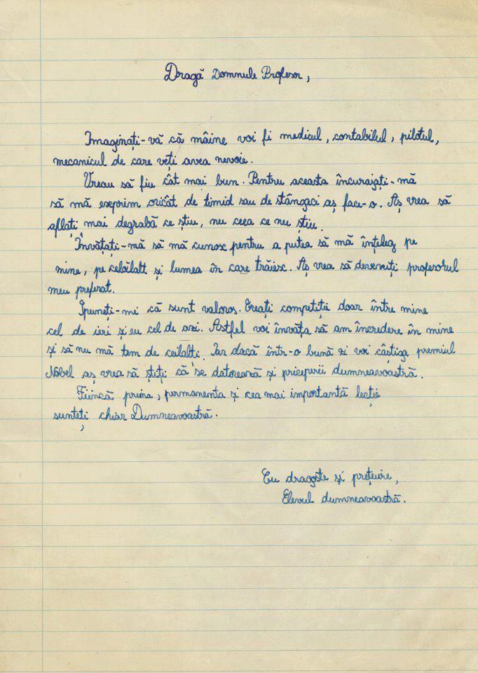 Scrisoare de la un elev
