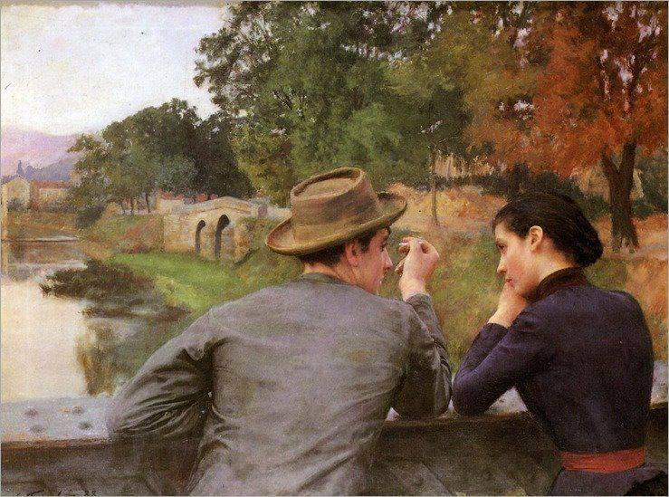 Emile Friant - Idylle sur la passerelle 1888