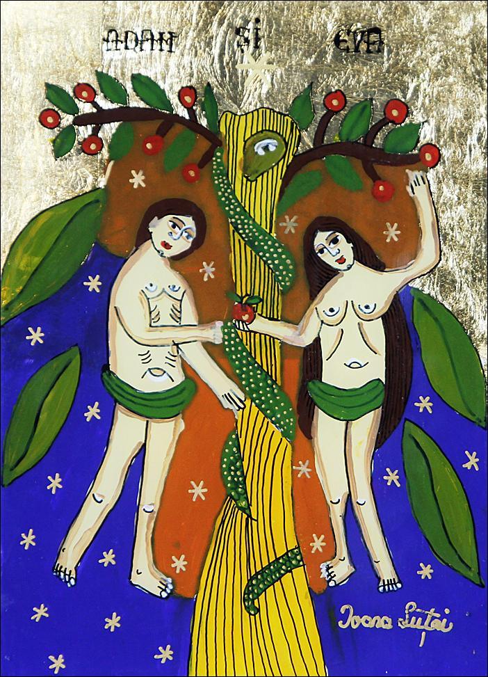 Adam-si-Eva-Pomul-Raiului- Icoane-pe-sticla-Sapanta